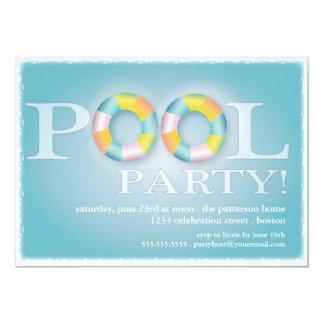 Tubos de flutuação de uma festa na piscina na água convite 12.7 x 17.78cm
