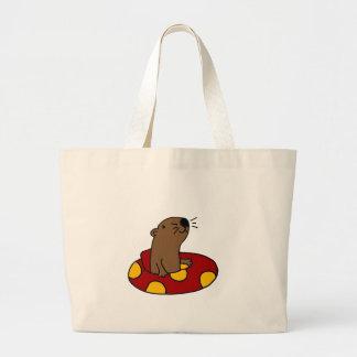 Tubulação engraçada da lontra de mar sacola tote jumbo