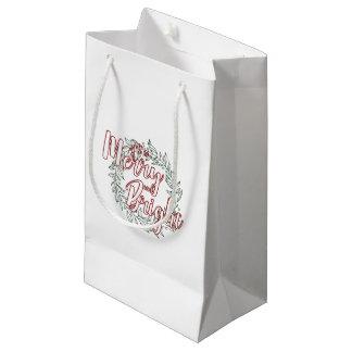 Tudo é alegre e brilhante (liso) sacola para presentes pequena
