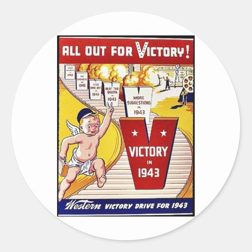 Tudo para fora para a vitória, vitória em 1943 adesivo redondo
