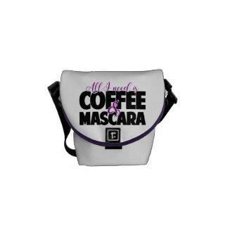 Tudo que eu preciso é café & rímel bolsas mensageiro