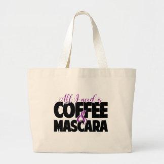 Tudo que eu preciso é café & rímel sacola tote jumbo