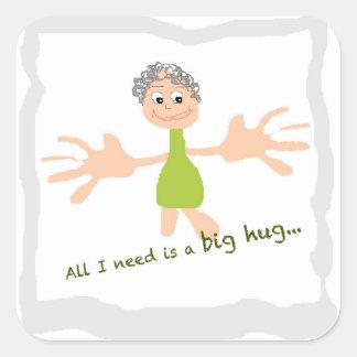 Tudo que eu preciso é um abraço grande - gráfico e adesivo quadrado