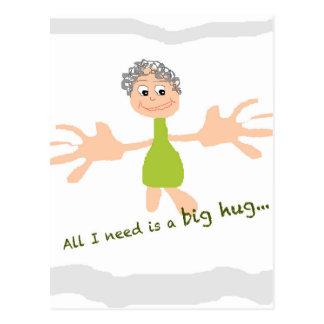 Tudo que eu preciso é um abraço grande - gráfico e cartão postal
