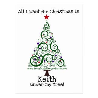 Tudo que eu quero para o Natal - Keith Cartão Postal