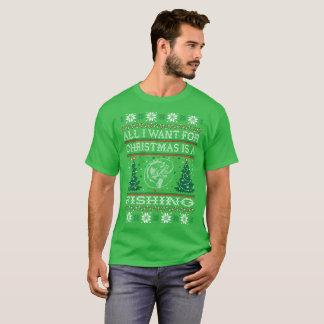 Tudo que eu quero para o Natal que pesca camisetas