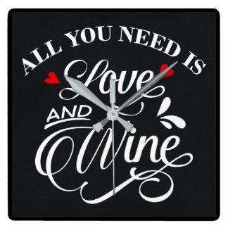Tudo que você precisa é quadro do amor e do vinho relógios de paredes