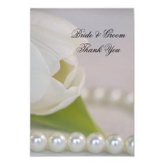 Tulipa branca e pérolas que Wedding o obrigado Convite 8.89 X 12.7cm