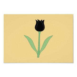 Tulipa preta elegante na cor do ouro convites personalizado