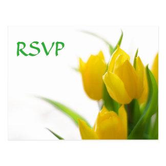 Tulipas amarelas - cartão de RSVP Cartão Postal