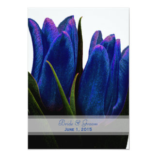 Tulipas azuis que Wedding convites Convite 12.7 X 17.78cm