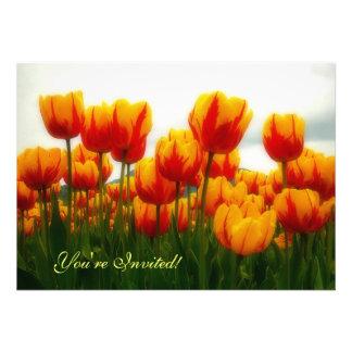 Tulipas bonito no campo de flor convite