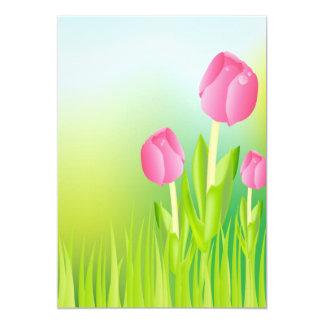 Tulipas cor-de-rosa convite 12.7 x 17.78cm