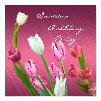 Tulipas cor-de-rosa elegantes da festa de convite quadrado 13.35 x 13.35cm