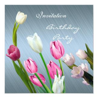 Tulipas cor-de-rosa elegantes do aniversário do convite quadrado 13.35 x 13.35cm