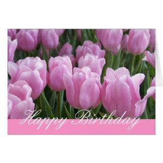Tulipas do rosa do cartão de aniversário