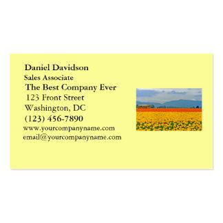 Tulipas e auto escolar amarelos cartão de visita
