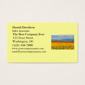 Tulipas e auto escolar amarelos cartão de visitas