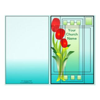 Tulipas no boletim do primavera da janela modelos de panfleto