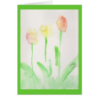tulipas religiosas da aguarela do cartão de páscoa