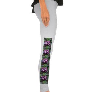 Tulipas roxas e brancas calças leggings