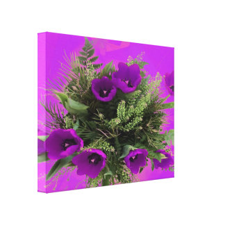 Tulipas roxas florais esticadas da cópia das canva impressão em tela canvas