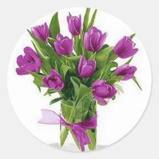 tulipas roxas no vaso adesivos em formato redondos