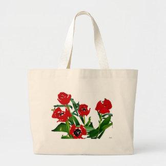 Tulipas vermelhas brilhantes 2 bolsas de lona