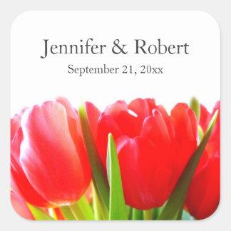 Tulipas vermelhas que Wedding a etiqueta