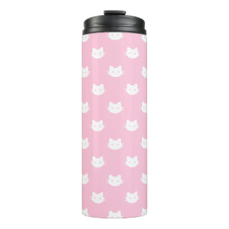 Tumbler branco cor-de-rosa do Thermal do gato