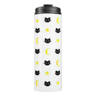 Tumbler da lua do gato do gatinho e do Thermal das