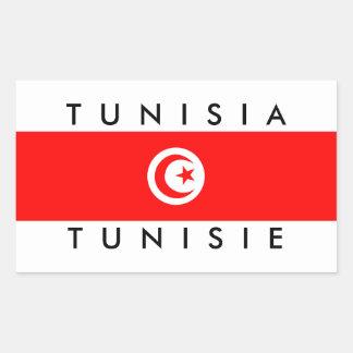 tunisie do símbolo do texto do nome da bandeira de adesivo retangular