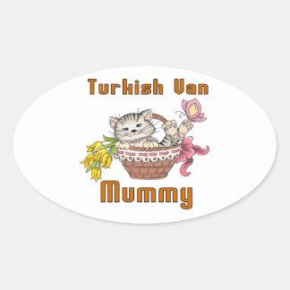 Turco Van Gato Mamã Adesivo Oval