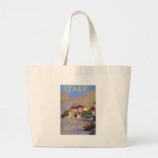 Turismo de Italia da vila de beira-mar do vintage Sacola Tote Jumbo