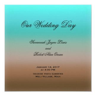 Turquesa ao programa tropical do casamento de convite quadrado 13.35 x 13.35cm