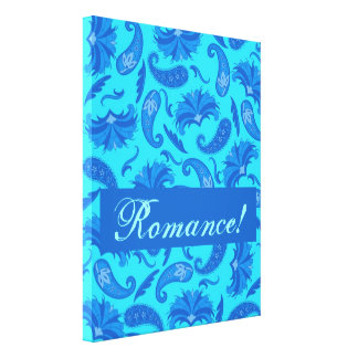 Turquesa & arte customizável azul do romance de Pa Impressão Em Tela