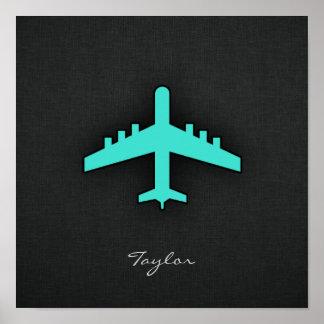 Turquesa; Avião do verde azul Poster