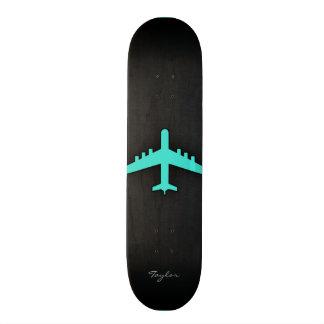 Turquesa; Avião do verde azul Shape De Skate 21,6cm