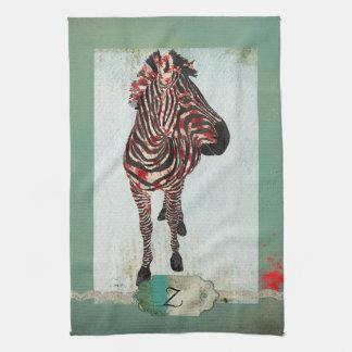 Turquesa cor-de-rosa do monograma da zebra & toalh panos de prato