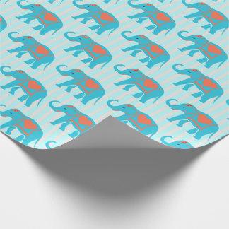 Turquesa da cerceta, elefantes azuis, em listras papel de presente