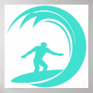 Turquesa do Aqua; Verde azul que surfa Pôster