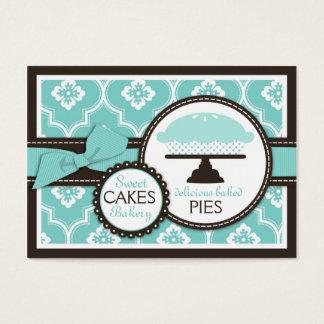 Turquesa doce do cartão de visita da torta