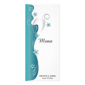 Turquesa e prata florais modernas do casamento | 10.16 x 22.86cm panfleto