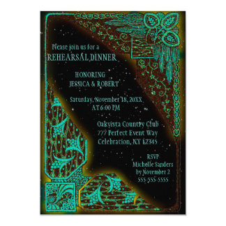 Turquesa e verde do art deco do jantar de ensaio | convite 12.7 x 17.78cm