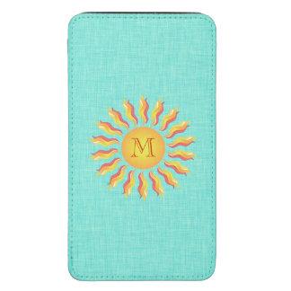 Turquesa feminino bonito do monograma de Sun Bolsa Para Celular