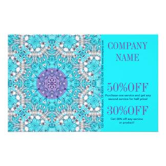 turquesa floral do teste padrão do salão de beleza panfleto