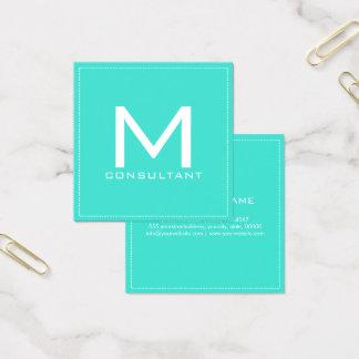 Turquesa moderna elegante do monograma cartão de visitas quadrado