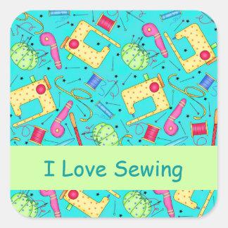 Turquesa que eu amo Sewing etiquetas Adesivo Quadrado