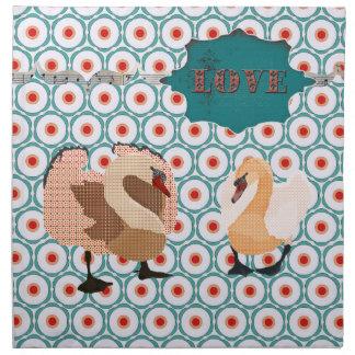 Turquesa retro das cisnes ostentosos cor-de-rosa & guardanapos