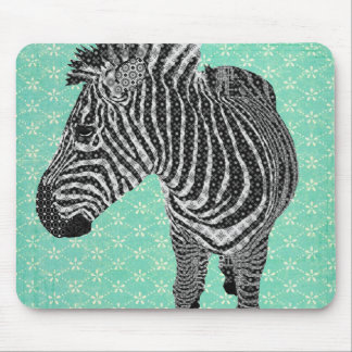 Turquesa retro Mousepad da zebra